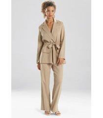 natori solid linen belted jacket top, women's, size s