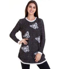 suéter tricot borboleta