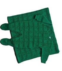 conjunto manta e macacão londres passion tricot verde - kanui
