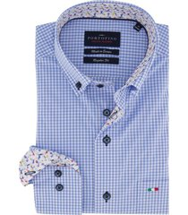 overhemd portofino blauw geruit regular fit