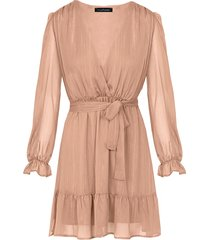 ruches jurk deluxe camel