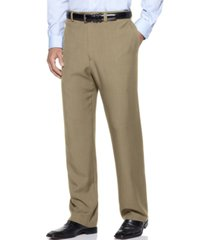 haggar men's eclo stria classic fit flat front hidden expandable dress pants