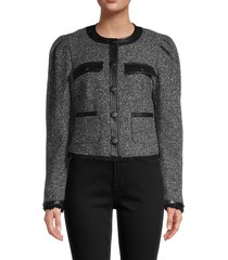 frame women's boucle wool-blend jacket - charcoal - size s