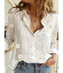 blusa de manga larga con cuello calicó blanco diseño classic