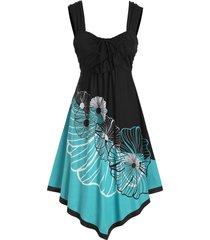 floral print empire waist asymmetrical cami dress