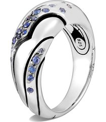 lahar' blue sapphire silver saddle ring