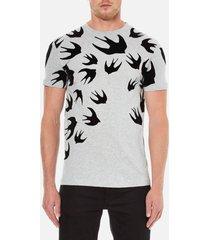 mcq alexander mcqueen men's swallow swarm flock t-shirt - mercury melange - xl - grey