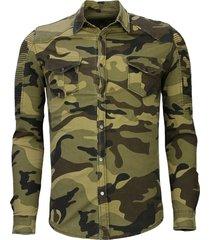 biker denim shirt - slim fit ribbel camouflage