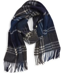 barbour kindar plaid wool & cashmere scarf in navy/grey at nordstrom