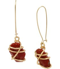 robert lee morris soho caged jasper stone long drop earrings