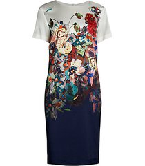 floral stretch-silk sheath dress