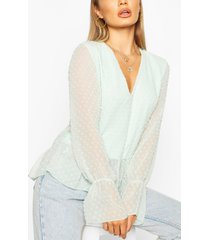 dobby mesh tunic smock top, mint