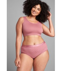 lane bryant women's cotton high-leg brief panty with wide waistband 34/36 rose dots