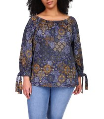 plus size women's michael michael kors mega patchwork tie sleeve top, size 1x - blue