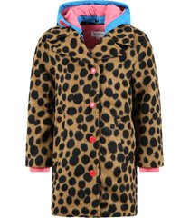 little marc jacobs brown coat for girl with pink logo