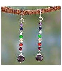 multi gemstone chakra earrings, 'gracious' (india)
