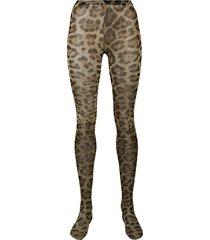 dolce & gabbana leopard tights - neutrals
