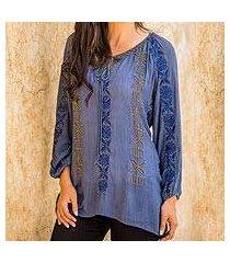 beaded tunic blouse 'jodhpur blossom' (india)