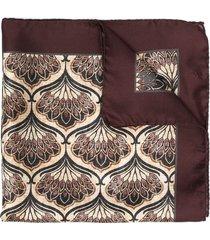gabriele pasini art deco floral print silk scarf - brown