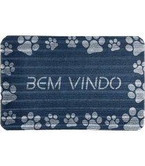 capacho carpet bem vindo com patinhas azul ãšnico love decor - azul - dafiti