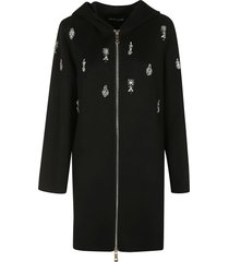 ermanno scervino crystal embellish zip hooded coat