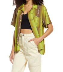 bp. be proud print camp shirt, size 4x-large in green tattoo butterfly allover at nordstrom