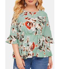calico print o-neck ruffle sleeve plus camicetta per donna