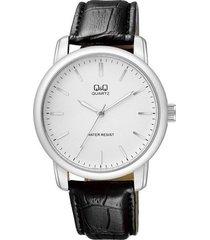 reloj q&q elegante pulso en cuero  color negro