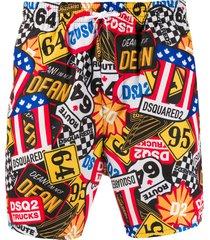 dsquared2 graphic print swim shorts - yellow