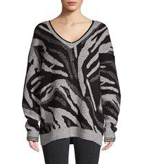 dropped-shoulder v-neck sweater
