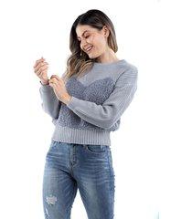 suéter gris tejido combinado para dama