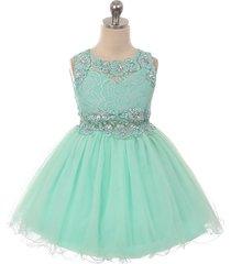 mint mini lace bodice rhinestones neckline waistline birthday flower girl dress