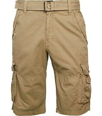 belted cotton cargo shorts