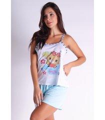 pijama curto bo you alcinha short blusa 139 azul claro - azul - feminino - poliã©ster - dafiti