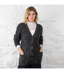 aran boyfriend cardigan by daryl k charcoal large