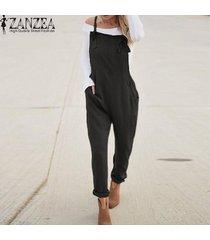 zanzea mujeres largo bib pantalones peto mono mameluco más el tamaño de traje de trabajo -negro