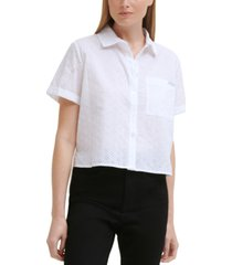 calvin klein jeans eyelet cotton button-front top