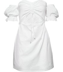 drawstring puff sleeve dress kort klänning vit ivyrevel