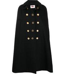ports 1961 button-detail longline cape - black