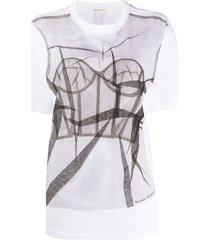 alexander mcqueen tulle bodice-print t-shirt - white