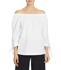 lafayette 148 new york women's keene off-the-shoulder tie-sleeve blouse - white - size l