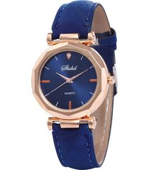 reloj pulsera mujer cuarzo analogico pulso cuero pu 932 azul