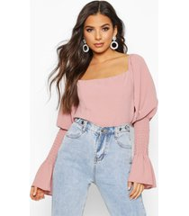 shirred sleeve ruffle peasant top, rose