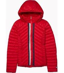 tommy hilfiger women's hooded packable puffer jacket scarlet - xs