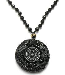 collana di ossidiana nera ciondolo fortunato tai-chi catena di catena