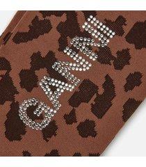 ganni women's leopard print socks - toffee - xs/s