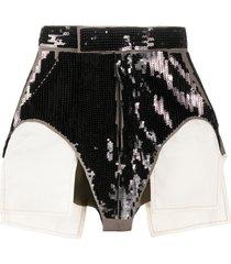rick owens exposed pocket-bag sequin hot pants - black