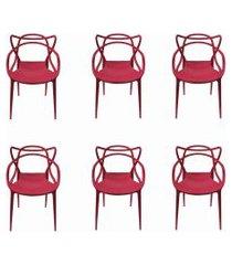 conjunto 06 cadeiras allegra pp cereja rivatti vermelho