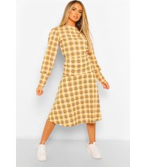 flannel puff sleeve blouse, mustard
