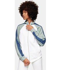 topman white 1/4 zip sweatshirt - white